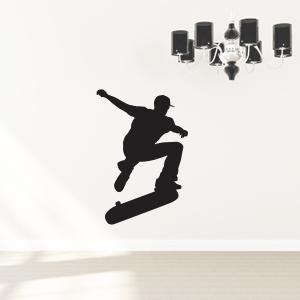 Skater med skateboard som wallsticker